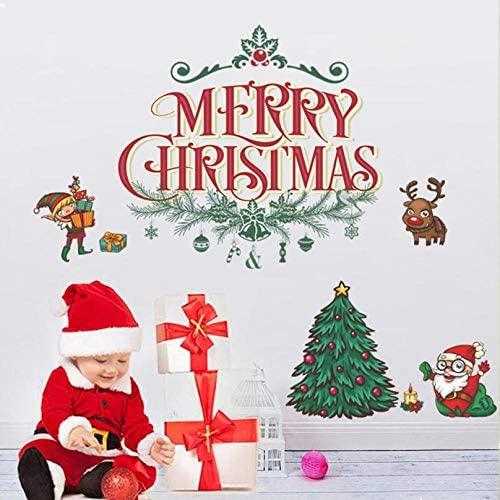 cooldeerydm Año Nuevo 2020 pegatinas de navidad para ventana Fondo Decoración de pared Etiquetas de navidad removibles Etiqueta roja