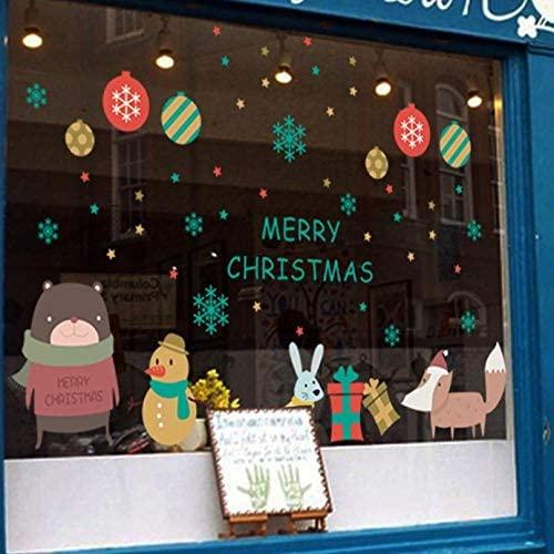 cooldeerydm Año Nuevo 2020 pegatinas de navidad para ventana Fondo Decoración de pared Pegatinas de navidad removibles Etiqueta-A
