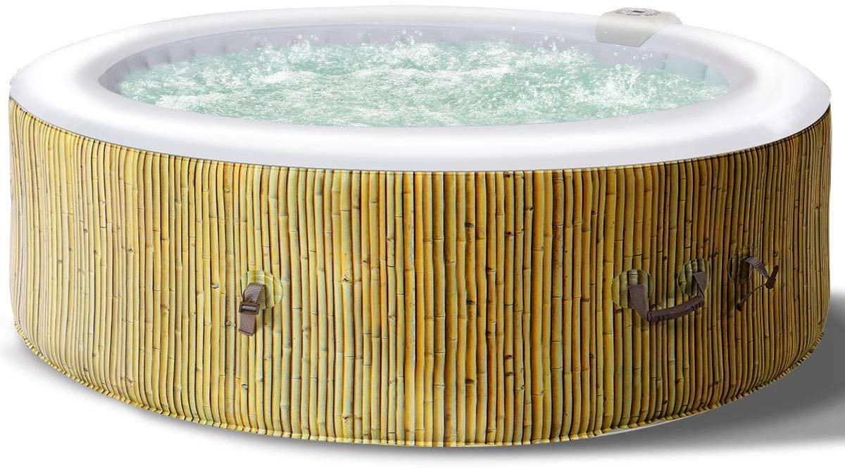 COSTWAY Jacuzzi SPA Hinchable de Redondo Bañera Inflable con Función de Calefacción para 6 Personas 208x208x65cm Capacidad 1000Litro Piscina de Masaje (Beige)