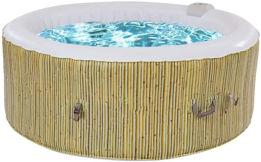 COSTWAY SPA Hinchable para 4 Personas Bañera Jacuzzi de Redondo 800 litros 180x180x65cm (Beige)