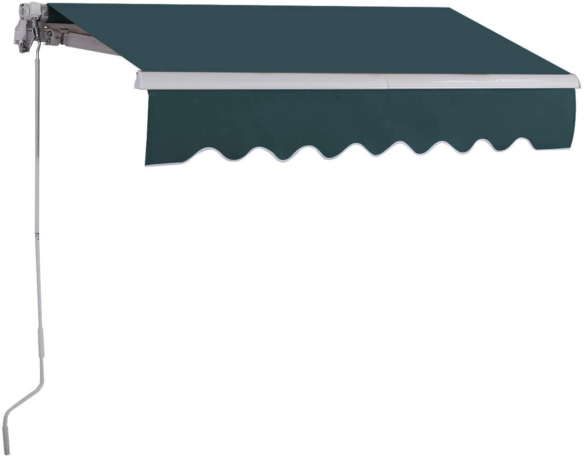 COSTWAY Toldo con Brazo Plegable de 2.5 x 2 Metros Toldo Manual Impermeable y Resistente a los Rayos UV Toldo para Balcón Terraza Puerta Ventana (Verde)