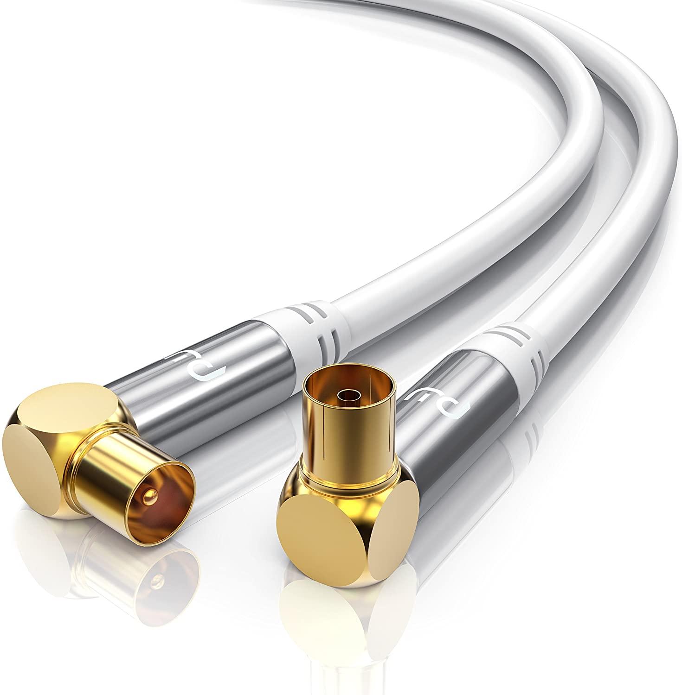CSL-Computer 1,0m Cable de Antena HQ HDTV Premium - En ángulo 90 Grado - Factor de blindaje 135 dB - Resistencia 75 ohmios - Cable coaxial - Clavija coaxial Macho a Hembra