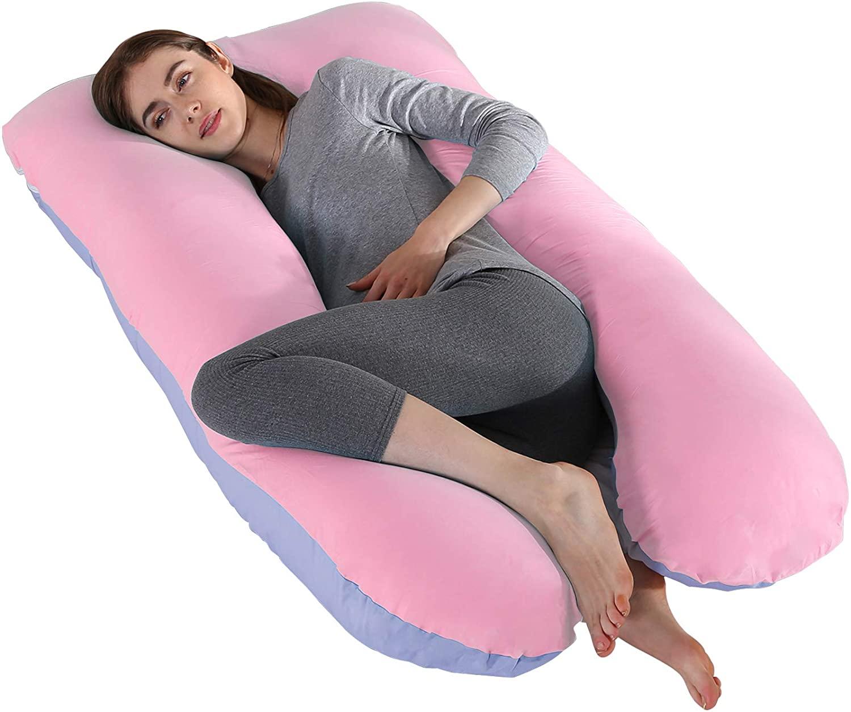 D4P Display4top Almohada con Forma de U, Almohada de Embarazo y Maternidad,Regalos para futuras Madres (Azul&Rosa)