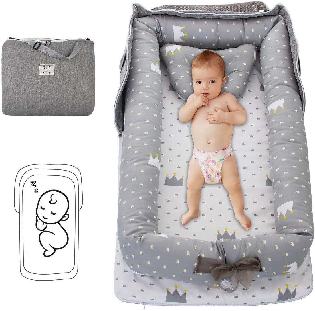 DaMohony Tumbona para Bebé Recién Nacidos Plegable Portátil Cuna Nido Recién Nacido de Algodón Cuna Co-Dormir para Viaje Dormitorio Al Aire Libre