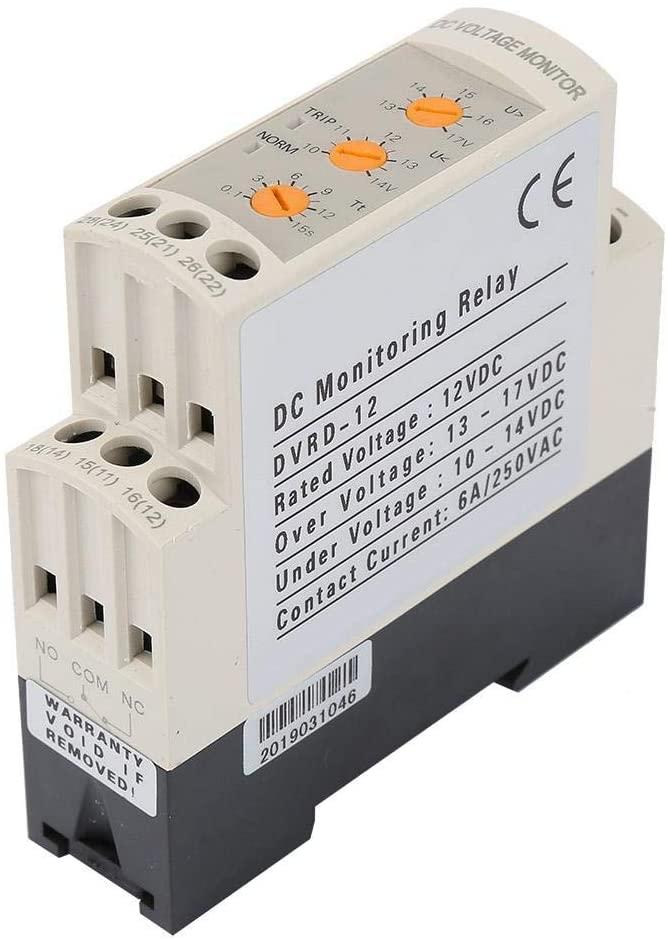 DC 12V / 24V / 36V / 48V Relé de protección de sobretensión y baja tensión para motor de CC, batería, UPS, interruptor de CC, panel de CC, sistema de control industrial.(DC12V)