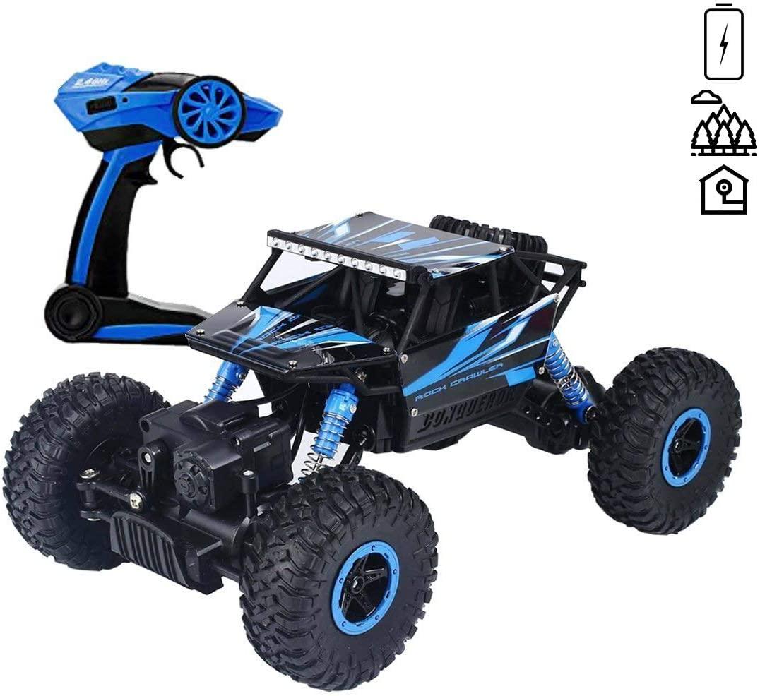 deAO RC Coche Todoterreno Rock Crawler 4x4 a Control Remoto Escala 1:18 Vehículo Rastreador de Roca Sistema 2.4GHz Sync System Modo Multi Jugador (Azul)