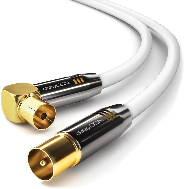 deleyCON 1m Cable de Antena TV HDTV Full HD - 1x en Ángulo Cable Coaxial Enchufe de TV (Recto) para Toma de TV (90° Grados) Tapón de Metal - Blanco
