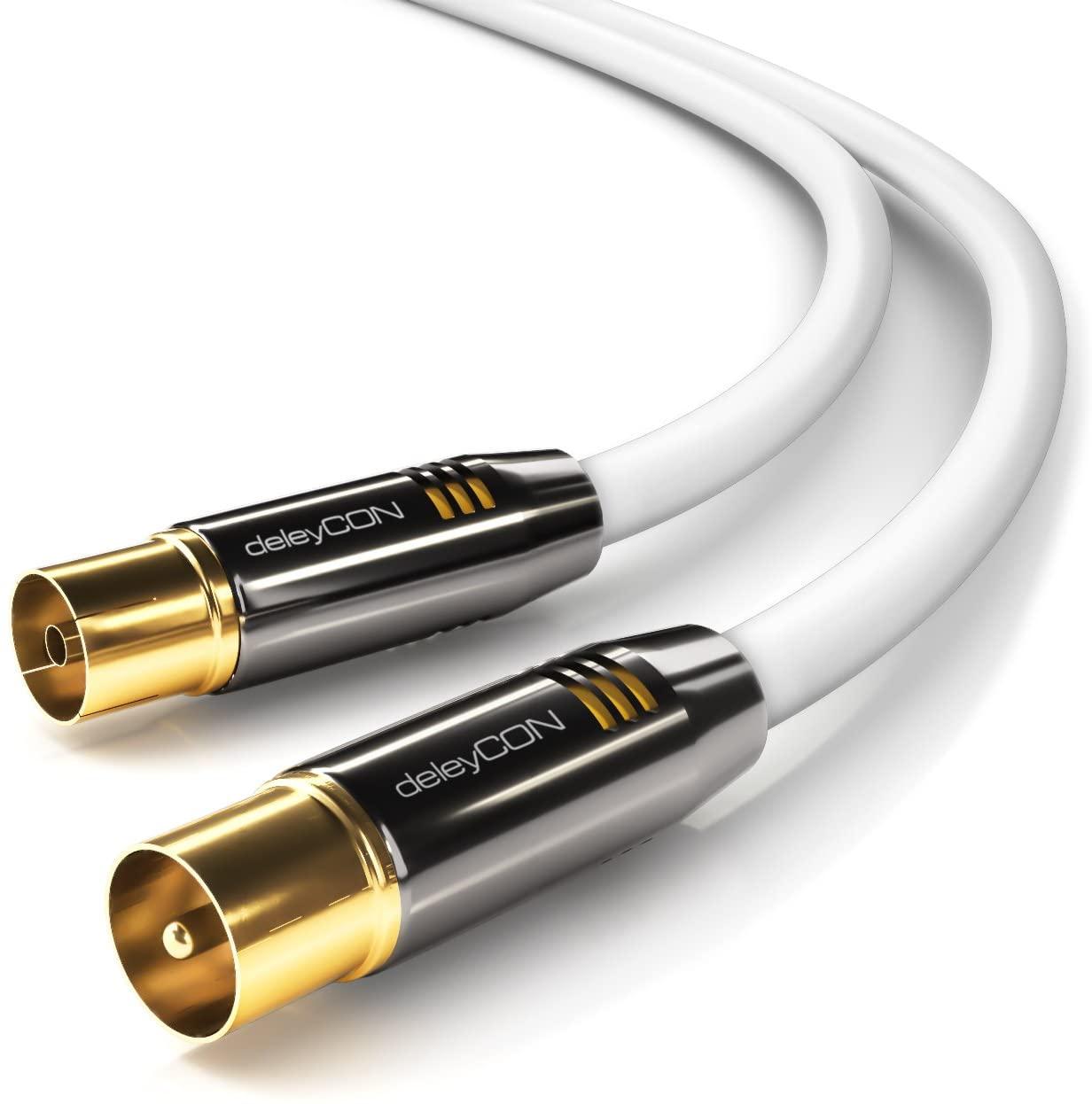 deleyCON 3,0m TV Cable de la Antena Coaxial Cable de TV 100dB 4K Ultra HD UHD HDTV Full HD - Enchufe de TV a Toma de TV - Conector Metálico - Analógico Digital - Blanco