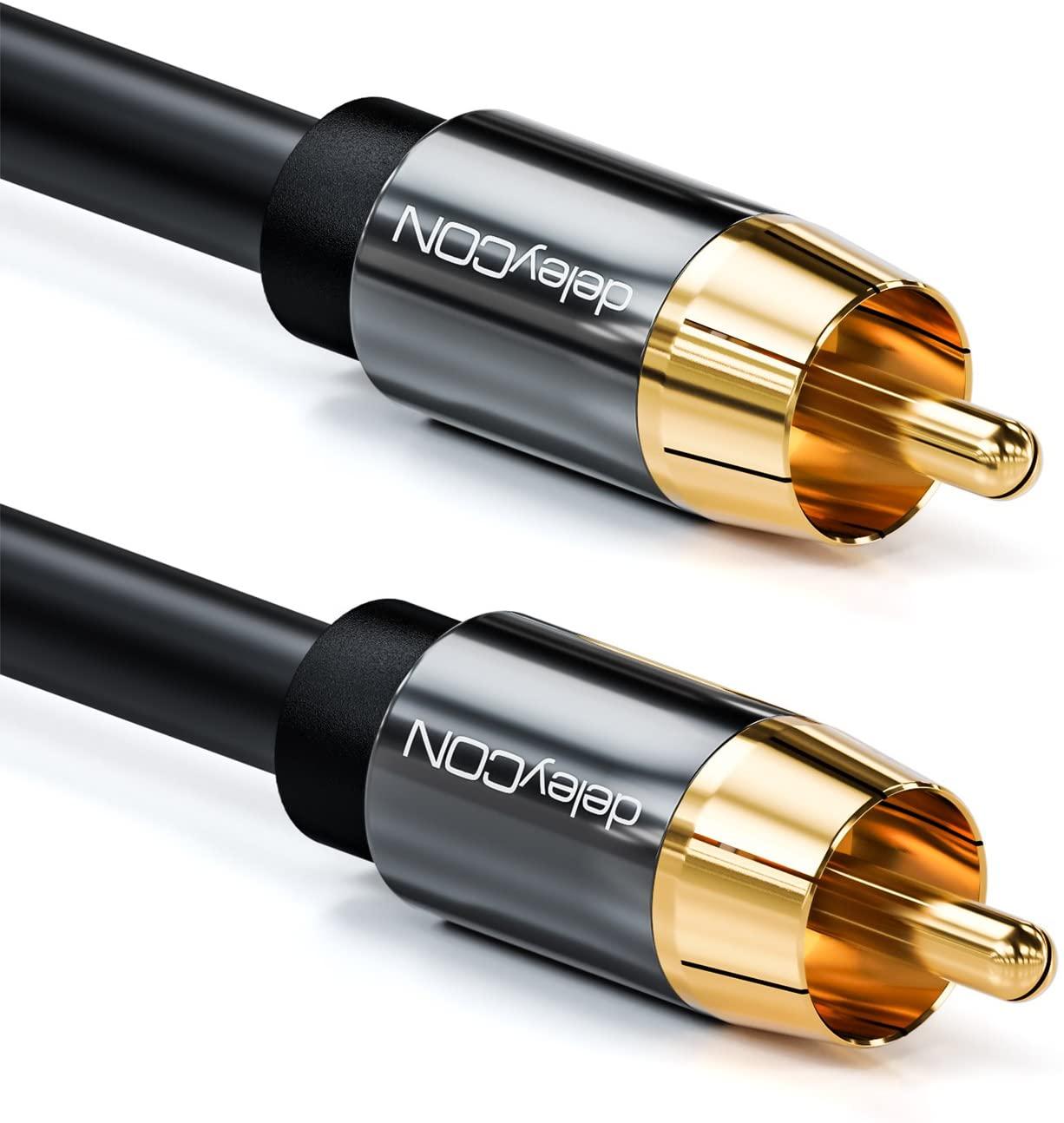 deleyCON Cable para Subwoofer 2m - Cable Coaxial Digital con Conector RCA - Contactos Chapados - Cable de Audio - Subwoofer Receptor AV Amplificador Cine de Casa