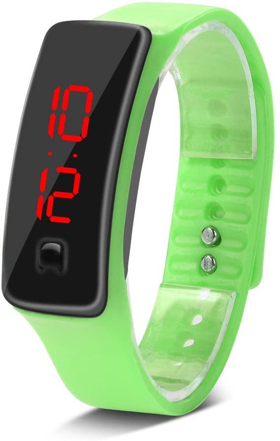 Deportes Reloj LED con Correa de Silicona Reloj Digital de Pulsera con Pantalla Electrónica DE 12 Horas para Niños 8 Colores