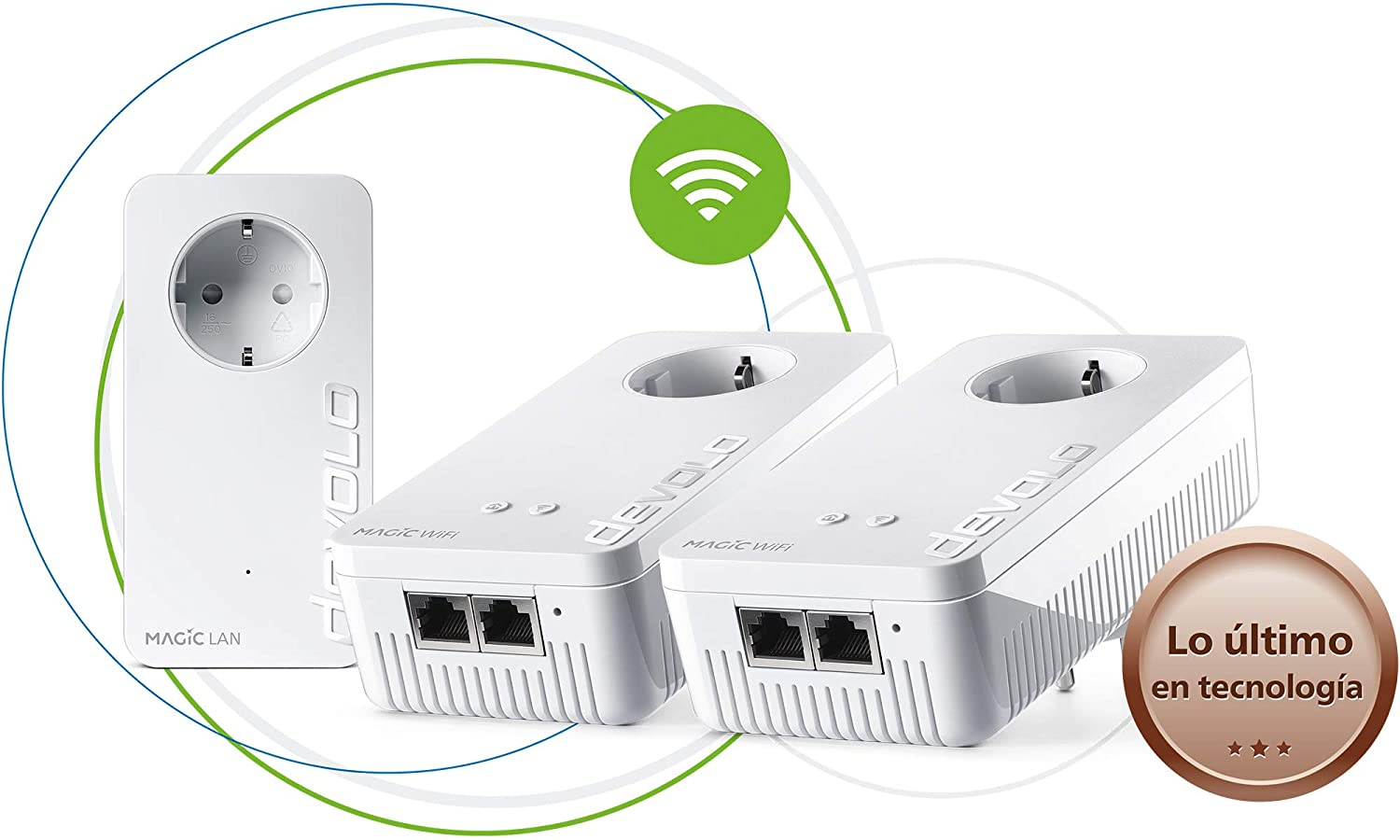 Devolo Magic 1 Wi-Fi - Multiroom Kit con 3 Adaptadores Powerline para una Red Wi-Fi Fiable a Través de Techos y Paredes Mediante los Cables de Corriente, Conexión en Red Mesh Inteligente
