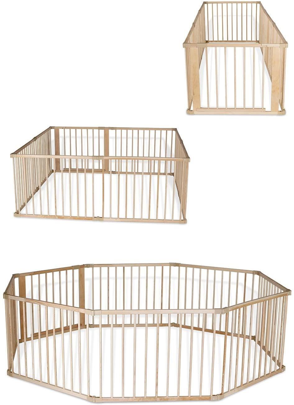 Dibea BP00582 - Parque de madera para Bebé, (68 cm alto), 8 elementos (a 90x65 cm) incl puerta