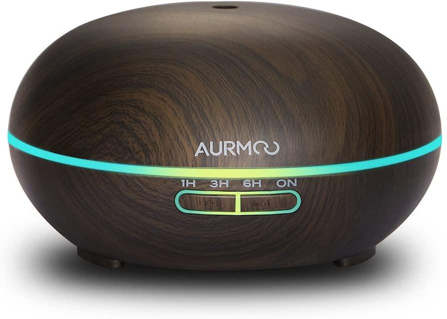 Difusor de Aceites Esenciales, 400ml Difusor Aromaterapia de 7-Color LED, Función de Apagado Automático, AURMOO Humidificador Ultrasónico Cool Mist sin BPA para dormitorio Hogar, Marrone
