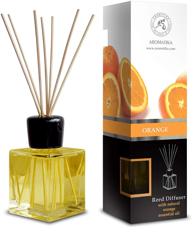 Difusor de Caña Naranja 200ml con 8 Palos de Bambú - Natural Fragancia de Habitación - Mejor para Aromaterapia - Spa - Hogar - Cocina - Baño - Oficina - Restaurante - Boutique