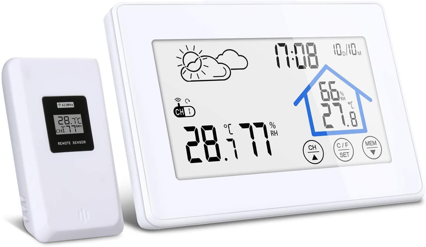 DIGOO Estación Meteorológica Interior y Exterior con Sensor Inalámbrico al Aire Libre, Termometro Ambiental DG-TH8380 con Botón Táctil, Monitor de Temperatura y Humedad