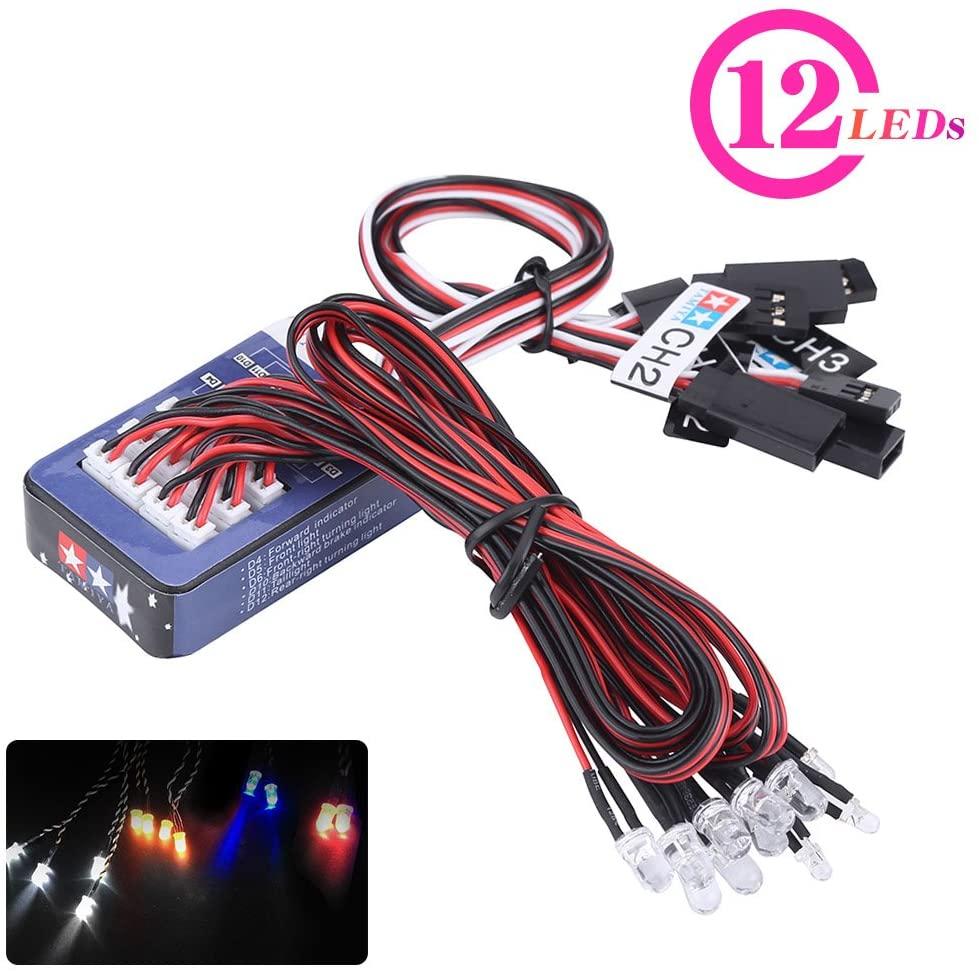 Dilwe 12 LED RC Coche Luz, Lluminaci¨®n Kit de Sistema Simulaci¨®n Flashing Lights Compatible para 1/10 1/8 RC Coche/Cami¨®n/Crawler