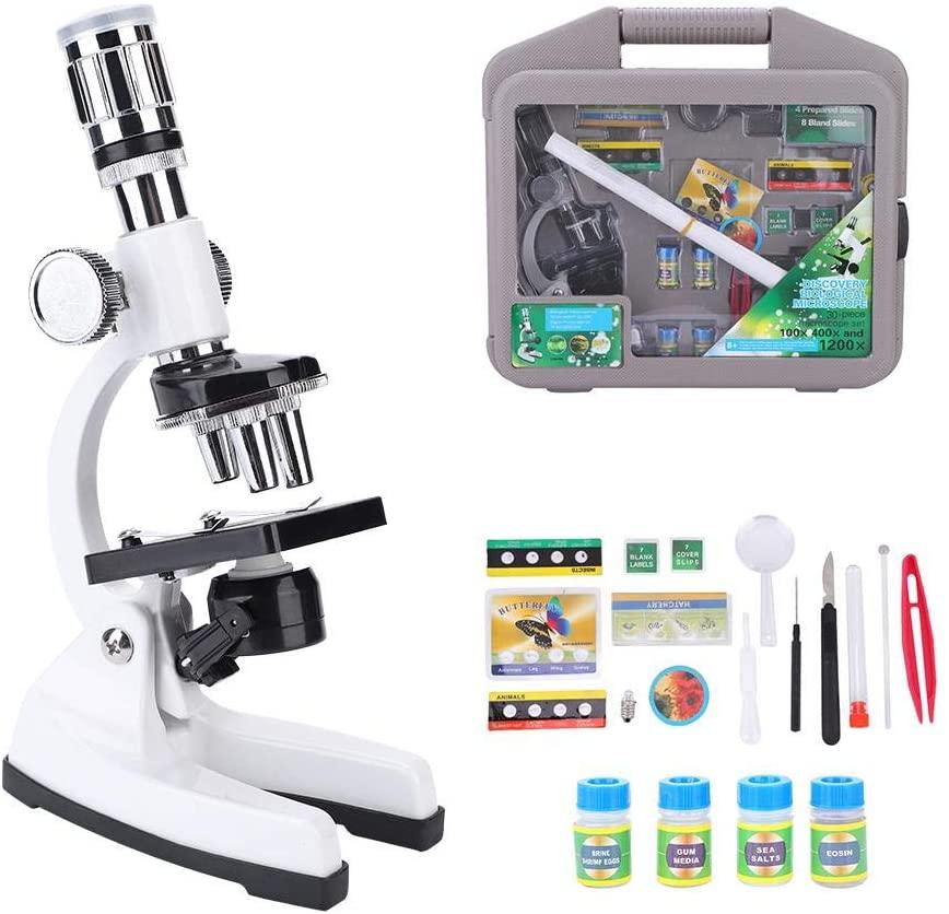 Dilwe Kit de Microscopio para Niños, 1200X Microscopio Monocular Compuesto Biológico Portátil LED de Luz Óptica Lente de Vidrio Juguetes de Ciencia para Niños