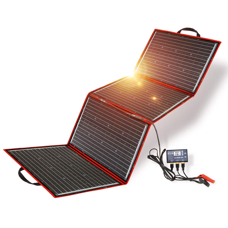 DOKIO - Panel solar, 200 W, 12 V, monocristalino, plegable, con controlador de carga inversor