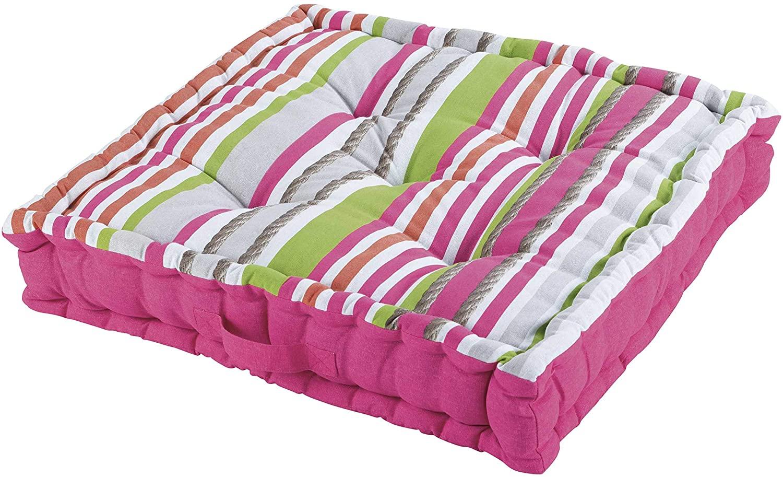 DOUCEUR D'INTERIEUR Cojín de Suelo de algodón, Estampado de colchón, Color Azul, Rosa, 60 x 60 x 10 cm