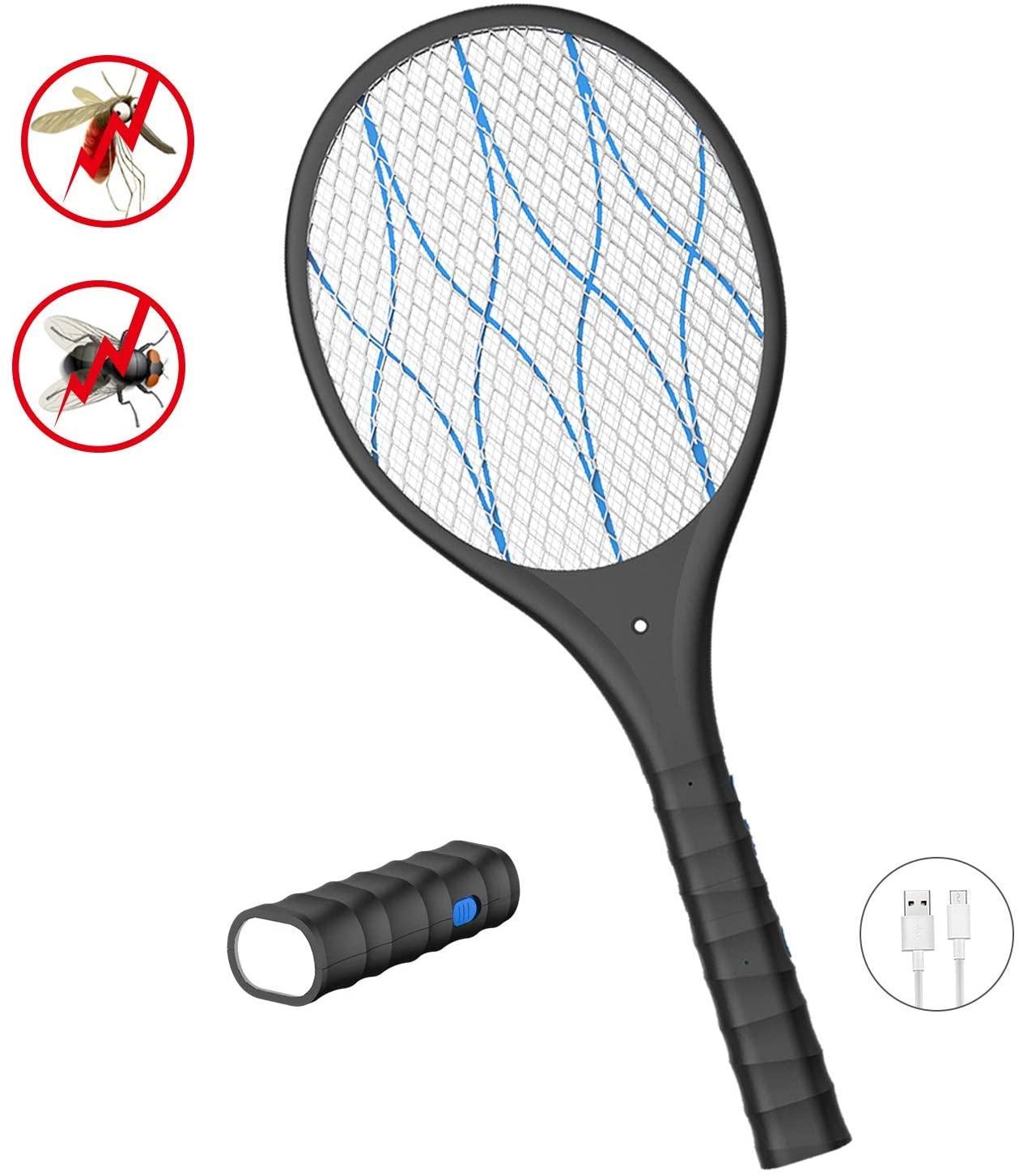 DOUHE Antimosquitos Recargable Raqueta Matamoscas Electrica, Mata Mosquitos Electrico, 4000 Voltios, Iluminación LED, Linterna Extraíble, Malla de Seguridad Unica de 3 Capas Segura para Tocar