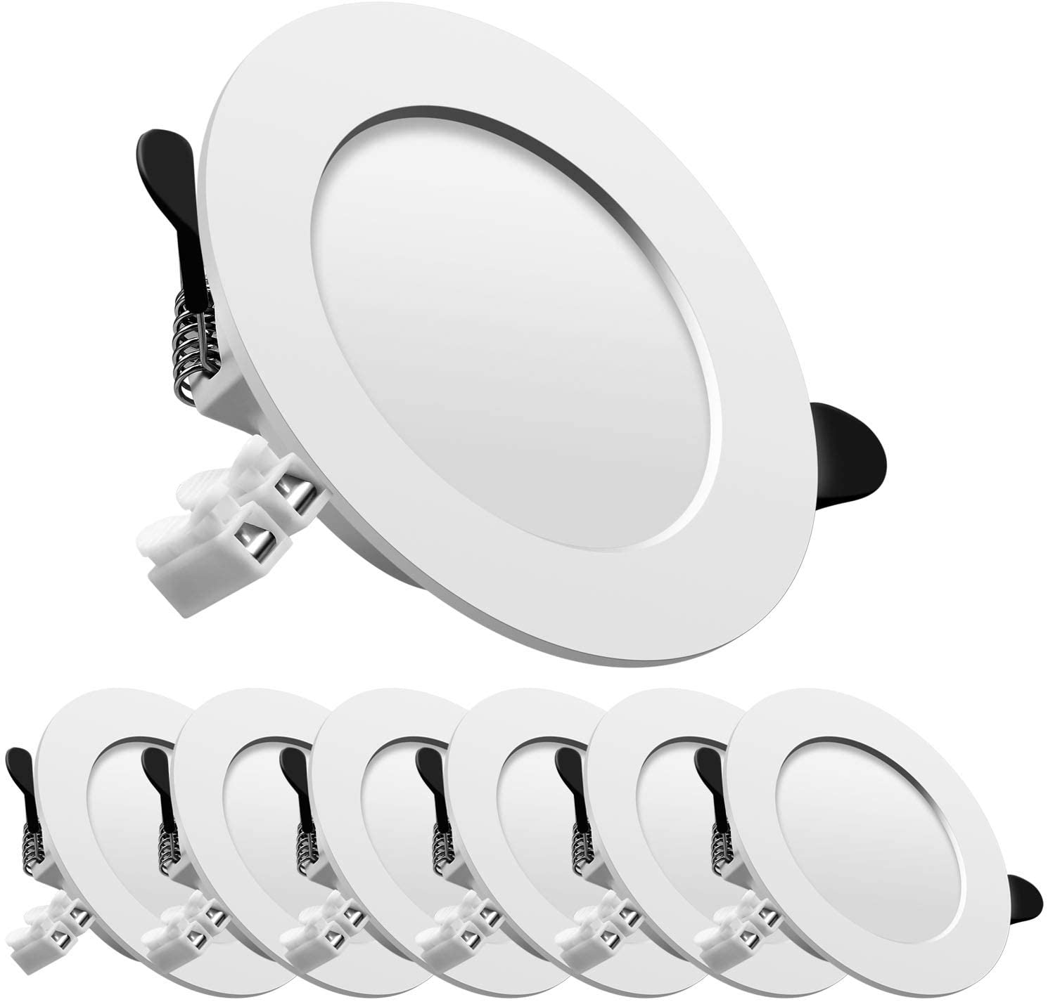 Downlight led empotrable redondo,Iluminacion 7W (700 lm),4500K (Luz Natural), Blanco,foco empotrable LED,Ojos de buey de led 6 pack