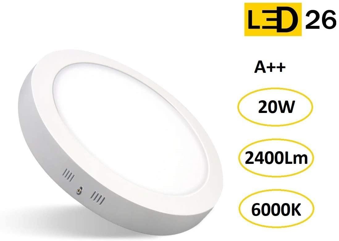 DOWNLIGHT PANEL SUPERFICIE LED CIRCULAR 20W plafon Redondo Para Techo y Pared LUZ BLANCA FRÍA [Clase de eficiencia energética A++] [Clase de eficiencia energética A++]