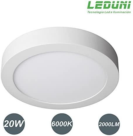 DOWNLIGHT PANEL SUPERFICIE LED CIRCULAR 20W plafon Redondo Para Techo y Pared Mejor Precio LUZ BLANCA FRIA [Clase de eficiencia energética A]