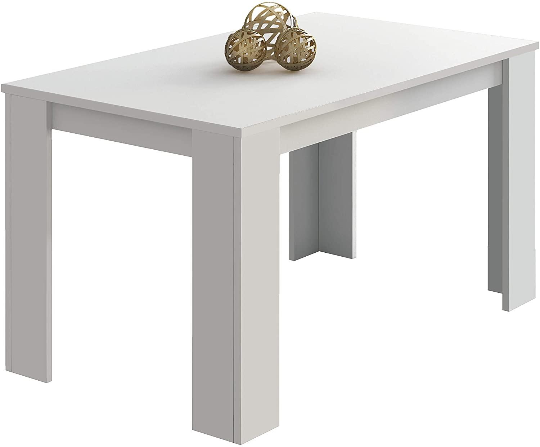 duehome HomeSouth - Mesa Comedor, Mesa Fija, Modelo Berta, Acabado Color Blanco, Medidas: 140 cm (Largo) x 80 cm (Ancho) x 75 cm (Alto)