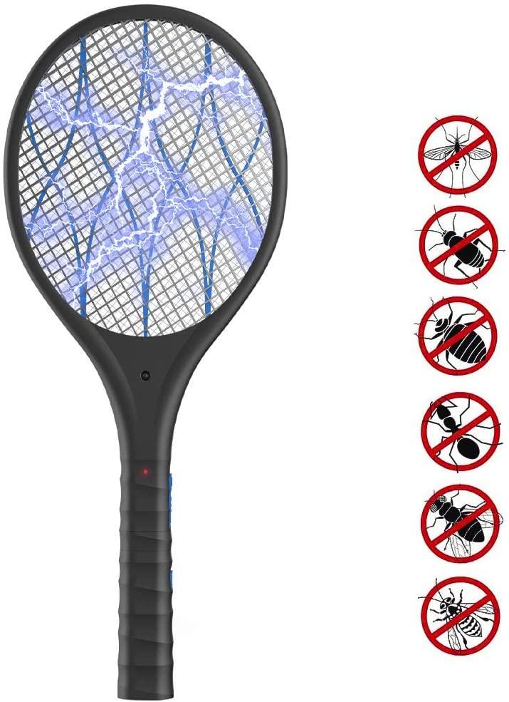 Duomishu Raqueta Matamoscas Electrico Mata Mosquitos, Plagas Insectos Asesino Repelente, Mata Insectos Matamoscas Swat de Mosquito Eléctrico Raqueta de Mosquitos Electrico