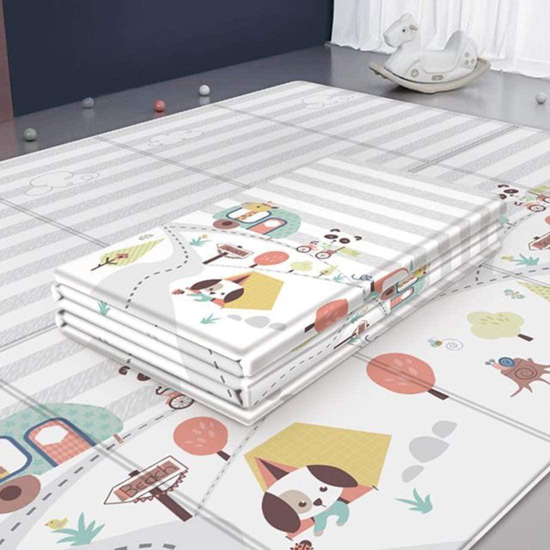 DXX Alfombra Niños Alfombrilla de Juego para Bebé, plegable, antideslizante, extragrande, reversible, impermeable, portátil, de doble cara, para niños pequeños y bebés,200 x 180cm