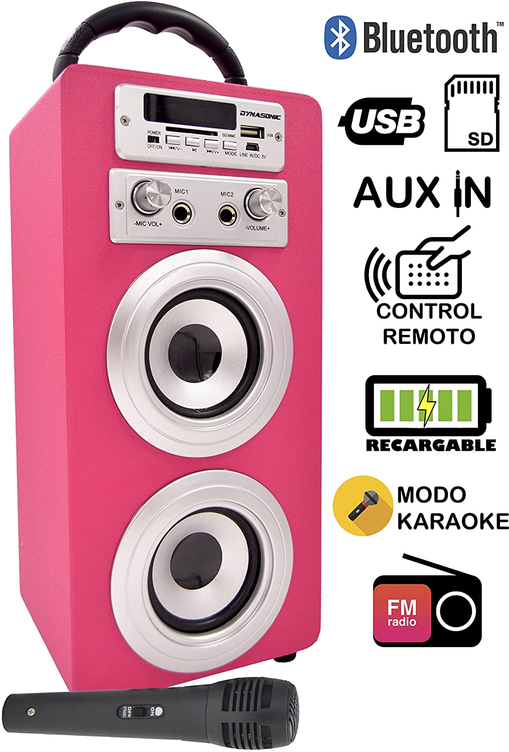 DYNASONIC - Altavoz Karaoke Bluetooth 10W, Color Rosa | Reproductor mp3 inalámbrico portátil, Lector USB SD, Radio FM