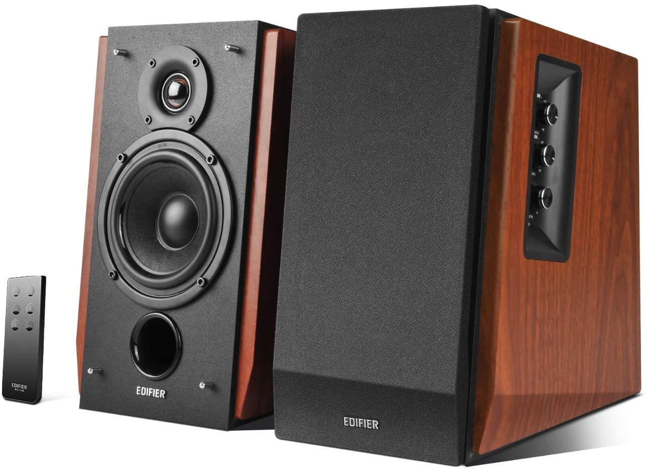 Edifier Studio R1700BT – Sistema de Altavoces 2.0 (66 Vatios) con Bluetooth y Mando a Distancia, color Marrón