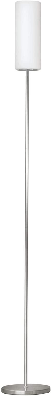 Eglo 85982 Troy 3 - Lámpara de pie (vidrio y acero, bombilla E27 de 100 W no incluida, 153 x 10,5 cm), color níquel mate y blanco