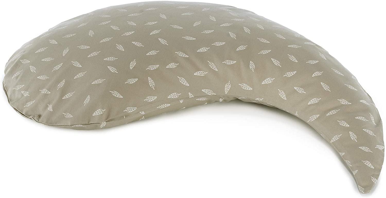 El cojín de lactancia Theraline Yinnie relleno con microperlas finas de arena, incluye funda exterior. beige Blättertanz taupe Talla:135x35cm