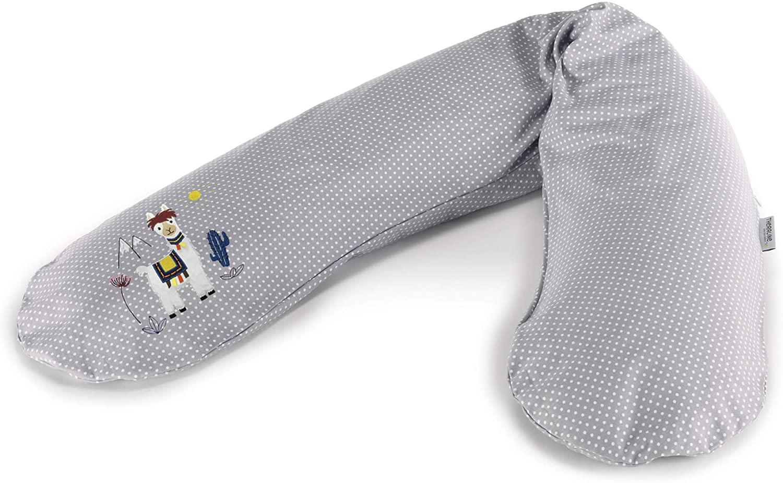 El original Theraline - Cojín de embarazo y lactancia relleno con microperlas de arena, incluye funda exterior de 190 cm gris Knistertier Lama Talla:Mikroperlen