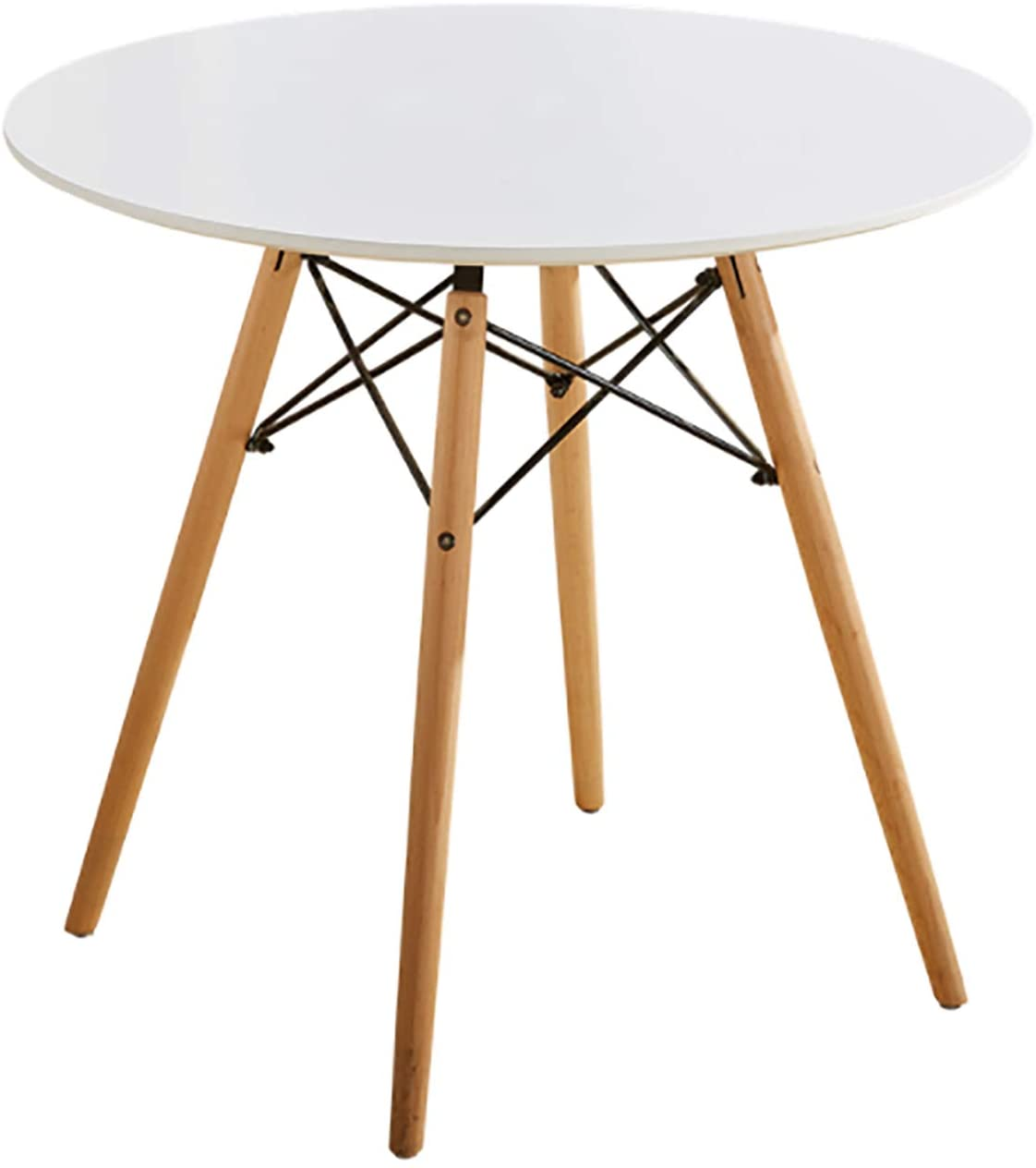 ELLEXIR Mesa de Comedor Redonda Mesa de diseño Eiffel 100 cm Ocio Moderno Mesas de té de Madera con Patas de Madera de Haya para Sala de Estar Sala de Descanso Oficina (Blanco)