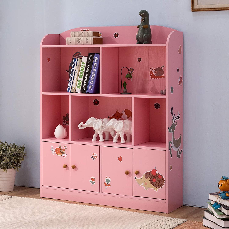 Emall Life Estantería y Almacenamiento para niños, Organizador de Libros y Juguetes, estantería para niños y niñas 98 * 24 * 119.5cm (Rosa)