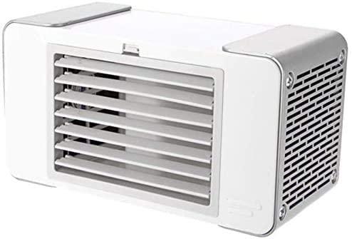 Enfriador de aire, enfriadores evaporativos USB con caja de agua, ventilador de mesa LED portátil, carga USB, ventilador de mesa silencioso para cama de oficina en el hogar, tamaño: 18.5x10x8.8cm
