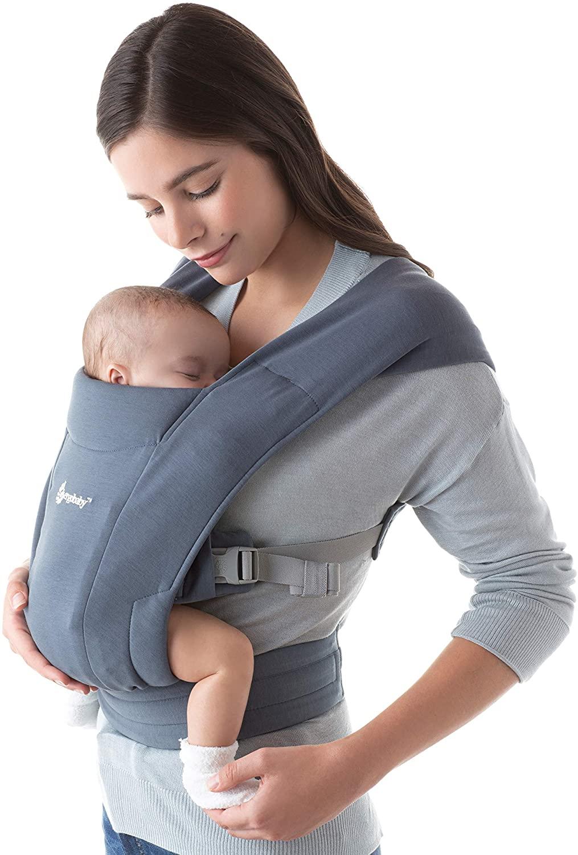 Ergobaby Embrace Mochila Portabebe Ergonomica Recién Nacidos, Extra Suave y Ultraligero (Oxford Blue)