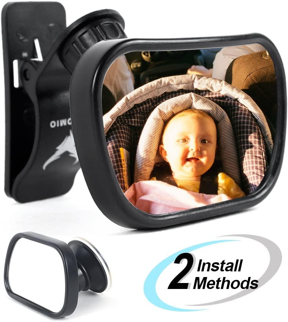 Espejo retrovisor para bebé de AOTOMIO para coche con espejo de seguridad y gran angular giratorio de 360 grados.
