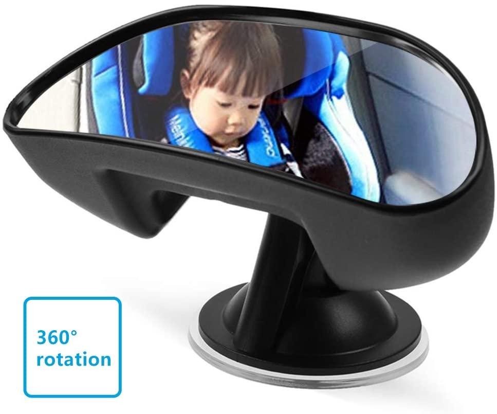 Espejo retrovisor para coche de bebé para interior, espejo de coche con ventosa, 360 grados parte trasera del asiento trasero del coche espejo retrovisor para niños negro
