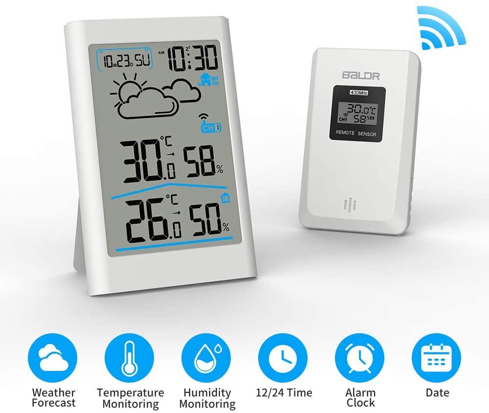 Estación meteorológica inalámbrica, estación meteorológica Digital Radio con Sensor Exterior, termómetro Digital higrómetro Humedad Interior Exterior con previsión meteorológica (Blanco)