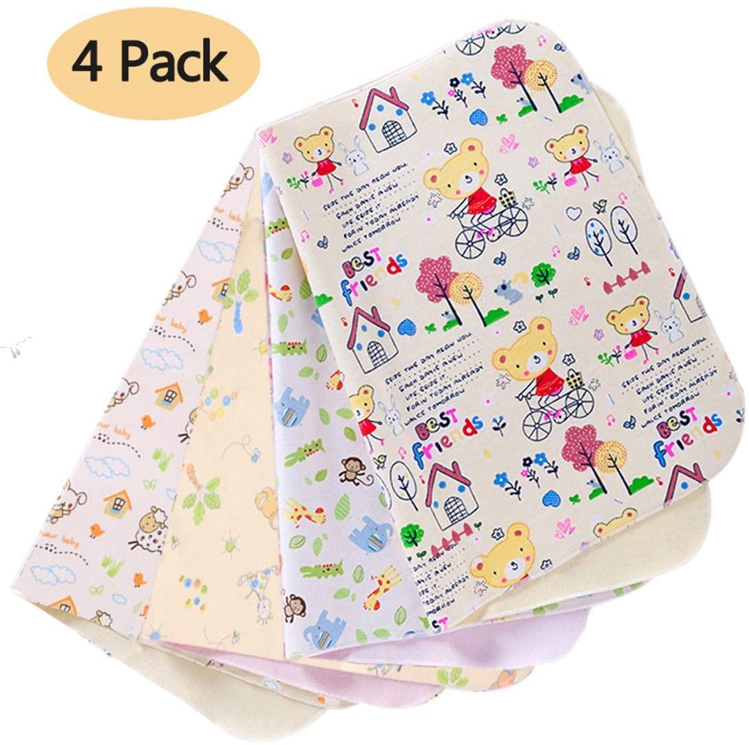 Estera impermeable bebe,cambiador de bebe portatil, 4 paquetes de estera portátil lavable para niños pañal para bebé impermeable sábanas de viaje para el hogar menstrual almohadilla(70x50cm)