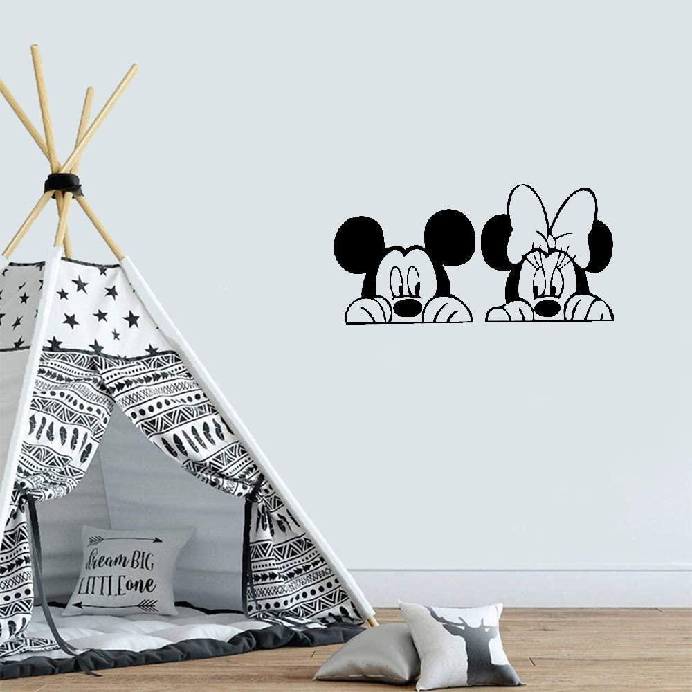 Etiquetas engomadas de la etiqueta de la pared de Mickey Mouse Minnie MouseDibujos animados de la pared de Mickey y Minnie Mouse, pegatinas de pared de vinilo animal lindo, habitación de bebé vivero