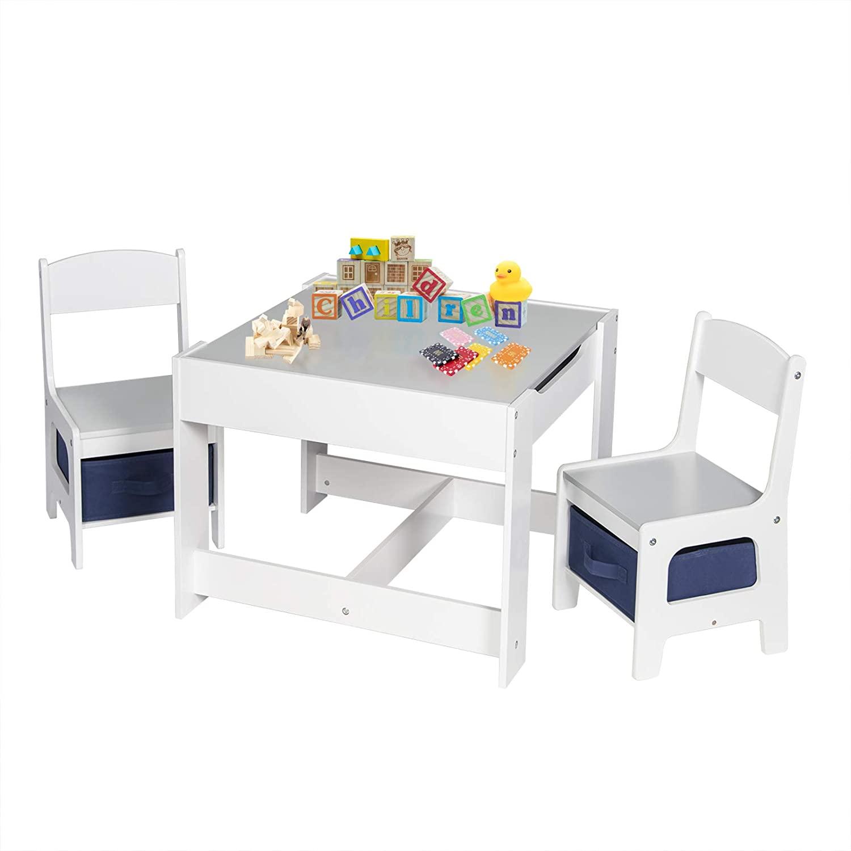 EUGAD Juego de Mesa y 2 Sillas Infantiles Grupo de Asientos para Niños Muebles de Madera y MDF para Niños con Espacio de Almacenamiento Gris + Blanco 0001ETZY