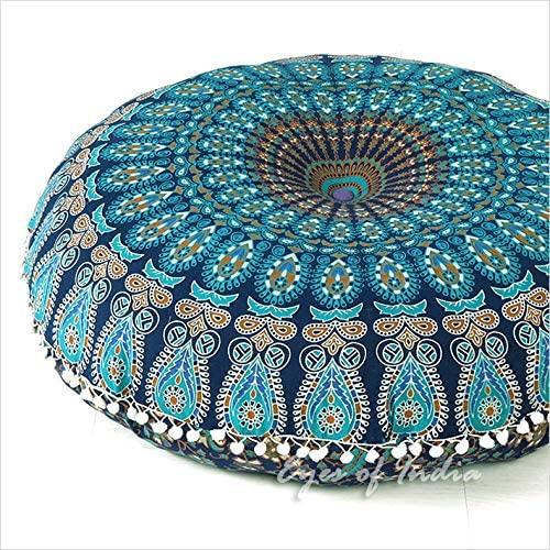 Eyes of India Mandala - Funda de cojín de meditación, diseño de Mandala, Redondo, Colorido, Decorativo, Bohemio, Bohemio, para Perro, Cama India, puf, otomano, algodón, A1 Azul, 1 32 Pulgadas