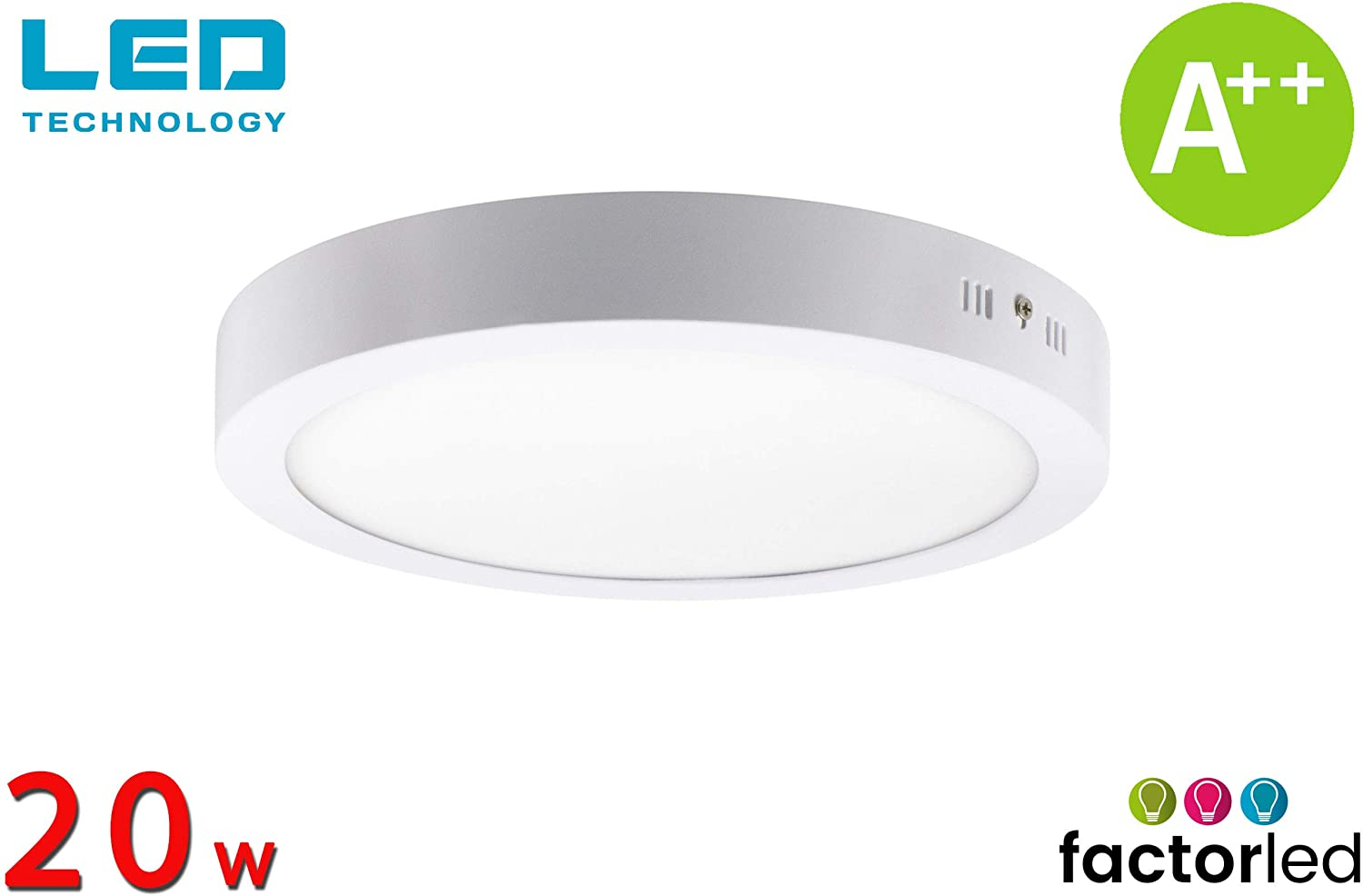 FactorLED ¡NOVEDAD! Downlight Panel Superficie LED Circular 20W, Plafón redondo para techo y pared, Placa interior, (3000K-4000K-6000K), [Clase de eficiencia energética A++] (Luz Cálida (3000K))