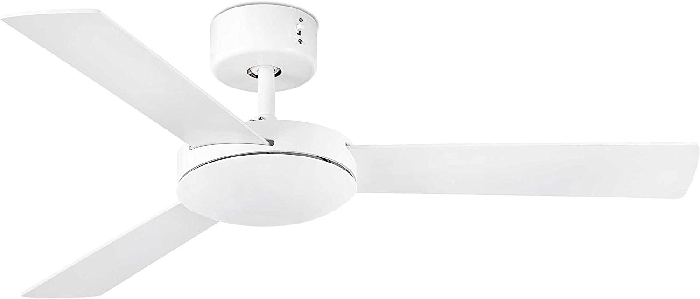 Faro Barcelona 33603 - MINI MALLORCA Ventilador de techo sin luz, metal y palas mdf reversibles blanco/arce, color blanco