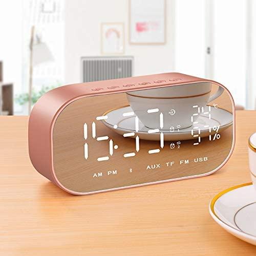FCS Reloj Despertador Reloj Despertador De Temperatura Reloj Inalámbrico Inteligente Bluetooth Mesa Digital Multifunción con Altavoces Inicio