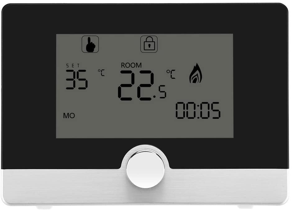 Fdit Regulador de Temperatura de Termóstato Programable Digital para Sistema de Calefacción de Caldera de Pared Socialme-EU(Negro)